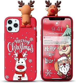 """Yoedge Etui do Apple iPhone 12 Pro / 12 6,1"""", 3D karykatura lalka czerwony silikon TPU na Boże Narodzenie etui ochronne [S..."""
