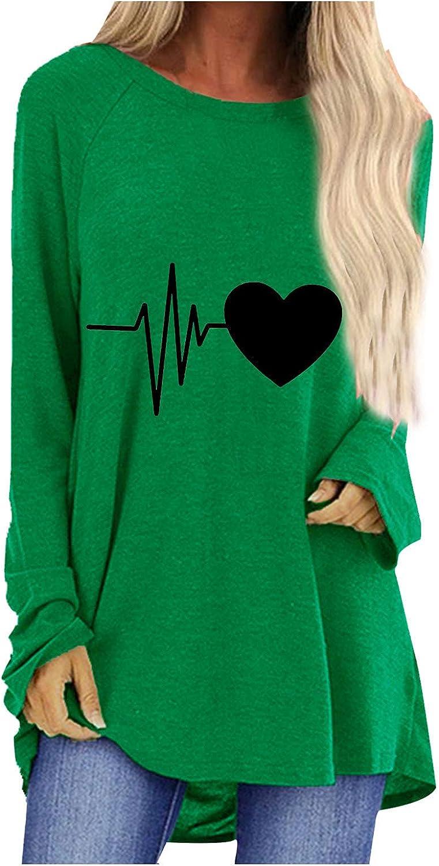 Women Irregular Oversized High Low Fall Tops Long Sleeve Crewneck Sweatshirts Unique Heartbeat Printed Casual Blouse