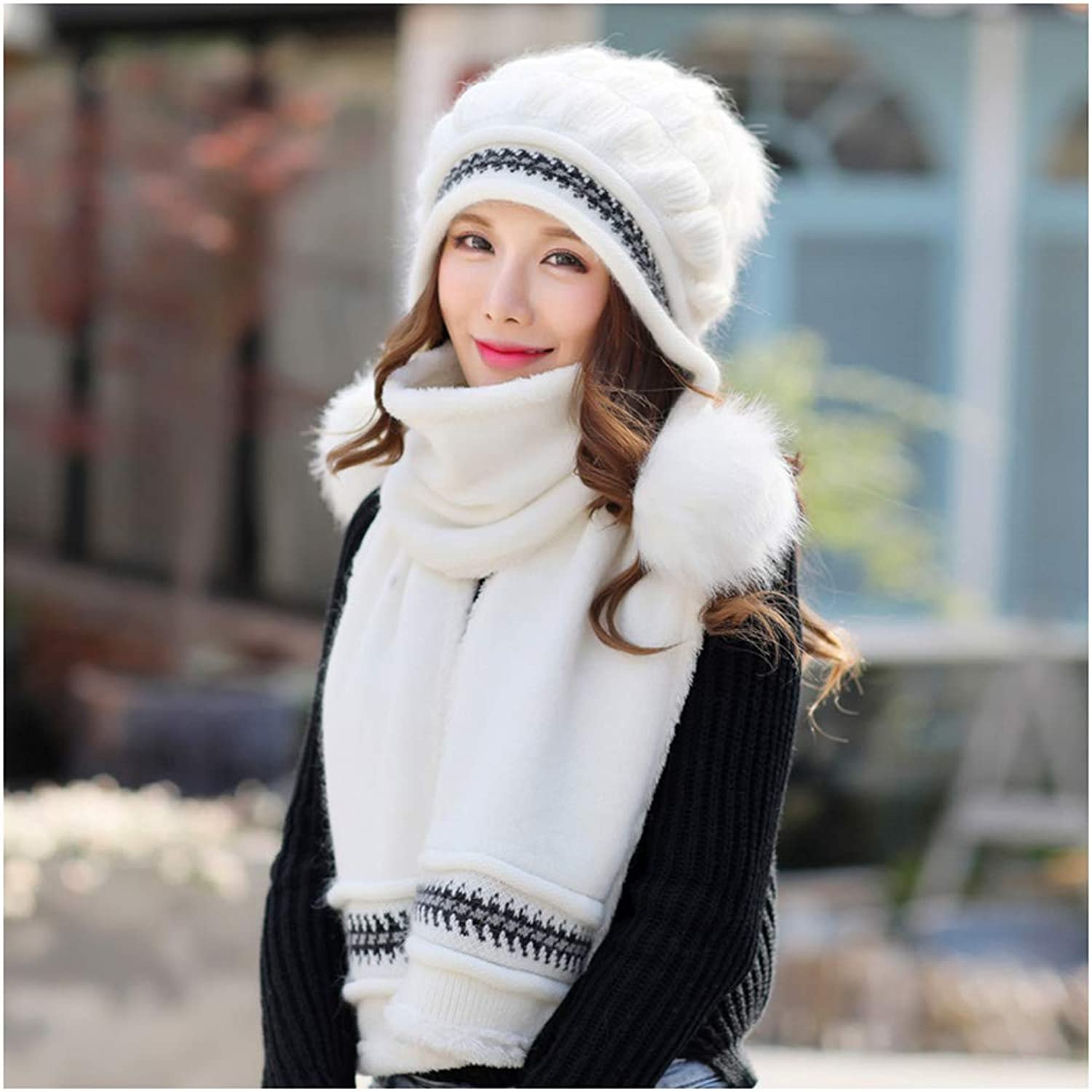 CHAXIA Hat Scarf Set 2Piece Set Winter Female Thicken Keep Warm Knitting Fashion Simple, 11 colors (color   H)