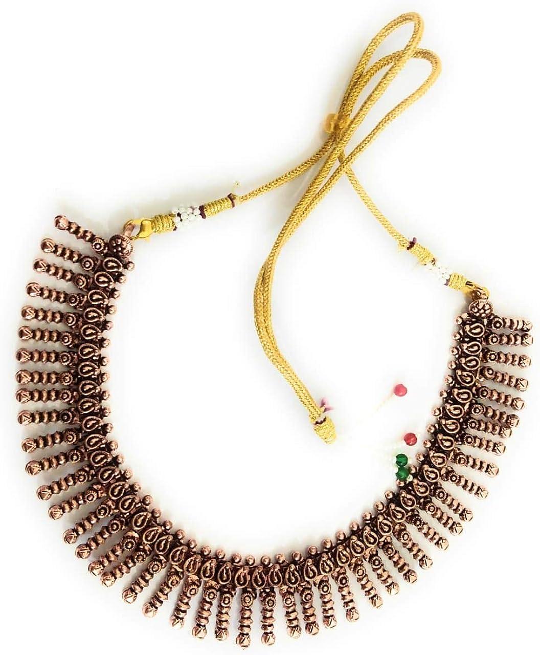 Indian Necklaces Copper oxidised Finish Copper Plated Golden Thread Ethnic Collar Indian Necklaces Premium Ethnic Festival Copper Beads Thread India Garba, Navratri, Diwali Women Fashion Jewellery