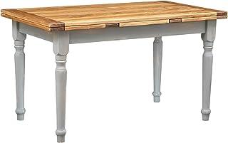 Biscottini Table Extensible en Bois Massif de Tilleul Style Country – Style Shabby – Structure Grise Antique Plateau Natur...
