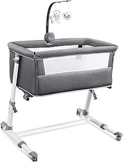 RONBEI Bassinet para bebés, recién nacidos, mesita de noche con rueda, Co Sleeper para bebés, camas para bebés y niños pequeños con móvil de cuna