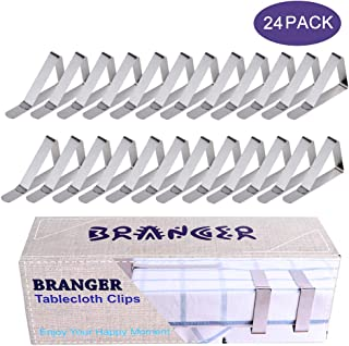 Branger Tablecloth Clips 24 Pack, Stainless Steel Picnic Table Cloth Clips, Flexible Outdoor Indoor Table Cover Clamps/Holders for Party, Camping, Wedding & Household