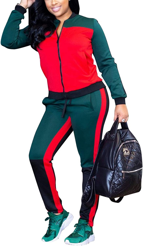 Akmipoem Women& 39;s color Block 2 Piece Outfits Long Sleeve Zip up Jacket and Pants Set Tracksuit