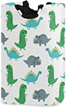 Kaariok Cute Cartoon Animal Dinosaurs Laundry Hamper with Handles Waterproof Collapsible Storage Basket Large Dirty Clothe...