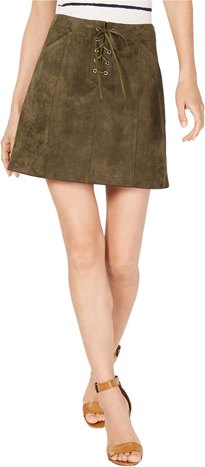 Sage The Label Womens Faux Suede Lace Up A-Line Skirt