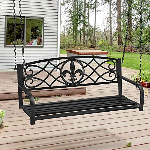 Yaheetech Outdoor Porch Swing, 2-Person Patio Metal Hanging Bench, Heavy Duty 500lb Weight Capacity Steel Swing Chair, Black