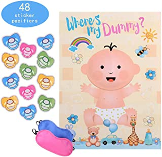 Reusable Baby Shower games - Pin the Dummy on the Baby Game | Large Size Poster | for Baby Shower Favors, Gender Reveal Party Supplies