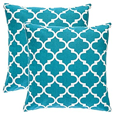 TreeWool Throw Pillowcase Trellis Accent Pure Cotton Decorative Cushion Cover (20 x 20 Inches / 50 x 50 cm; Teal) - Pack of 2
