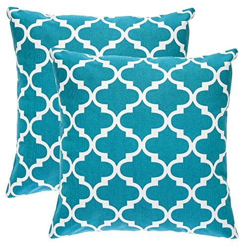 TreeWool - Pack de 2 - diseño de celosía Trellis Acento Decorativo Fundas de cojín, 100% algodón (45 x 45 cm / 18 x 18 Pulgadas, Verde Azulado)