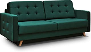 Vegas Futon Sofa Bed, Queen Sleeper with Storage, Dark Green
