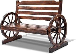 Gardeon Wooden Wheel Garden Bench Seat Chair Outdoor Patio Furniture