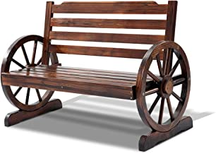 Gardeon Wooden Wheel Garden Bench Seat Chair Outdoor Patio Furniture