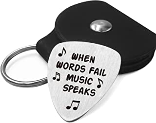 Best Guitar Pick Gifts - Stainless Steel Guitar Pick with Guitar Pick Holder Case - When Words Fail Music Speaks (Music Sy...