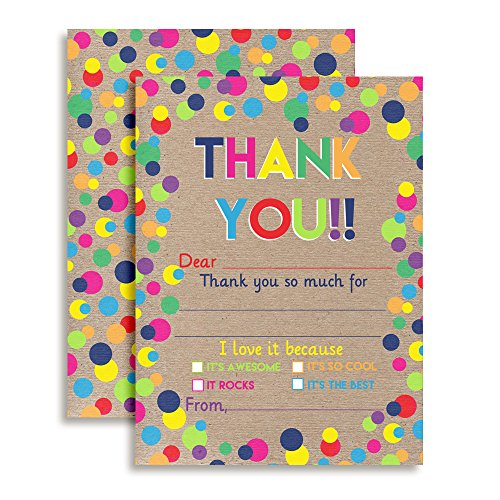 Kraft Polka Dot Birthday Thank You Notes for Kids, Thank you Bunches! Ten 4' x 5.5' Fill In The Blank Cards with 10 White Envelopes by AmandaCreation