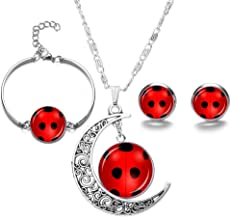 MEETCUTE Red Ladybug Moon Necklace Bracelet Earrings Set Metal Animal Earrings for Girls Cat Miraculous Anime Ladybug Jewelry Set