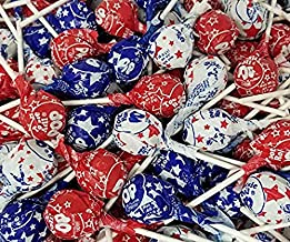 Patriotic Tootsie Roll Tootsie Pops - 2 LB Resealable Stand Up Candy Bag - Classic Chocolate Lollipops Individually Wrapped with Assorted Red, White, or Blue Wrappers - Bulk 4th of July Candy