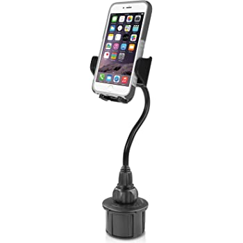"""Macally Car Cup Holder Phone Mount - 8"""" Long Flexible Gooseneck with 360° Adjustable Holder - Securely Fits Phones with/without Case up to 4.1"""" Wide - Easy to Use Cup Phone Holder for Car SUV or Truck"""