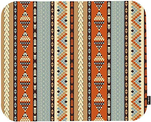 Tribal Patterns Mouse Pad Vintage Style Geometric Indian Native Southwestern Pattern Gaming Mouse Mat Non-Slip Rubber Base Thick Mousepad for Laptop Computer PC 9.5x7.9 Inch