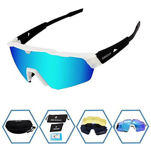 a0e1bb33a55 GIEADUN Sports Sunglasses Protection Cycling Glasses with 4 Interchangeable  Lenses Polarized UV400 for Cycling