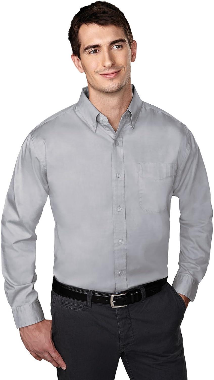 Tri-Mountain Men Chairman Button Down Wrinkle Free Pinpoint Pleated Oxford Shirt