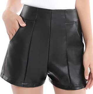 Womens High Waisted Faux Leather Shorts with Pockets Wide...