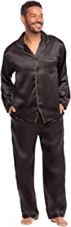 Men's Button Down Satin Pajama Set with Sleep Mask, Long...