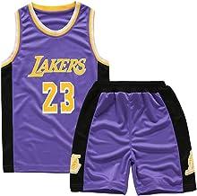 AILTAL Boy'S Basketbal Jersey Set Lakers 23 James Kid's Basketbal Uniform Heren Mesh Sneldrogend Vest Training Uniform Jer...