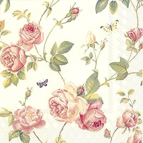Servietten, 3-lagig, Motiv Rambling Rose, 25 x 25 cm, Cremefarben, 20 Stück