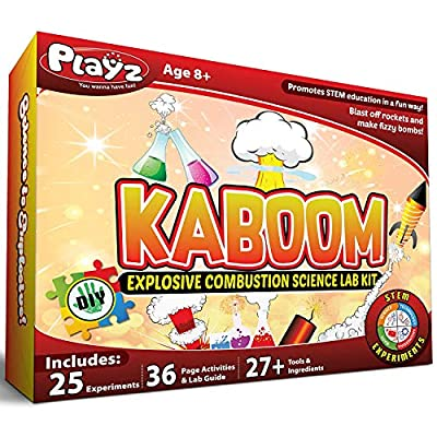 Playz Kaboom! Explosive Combustion Science Lab Kit - 25+ STEM Experiments - DIY Make Your Own Rockets, Helium Balloons, Fizzy Bombs, Color Explosions and More with Fun Chemical Reactions! by Playz