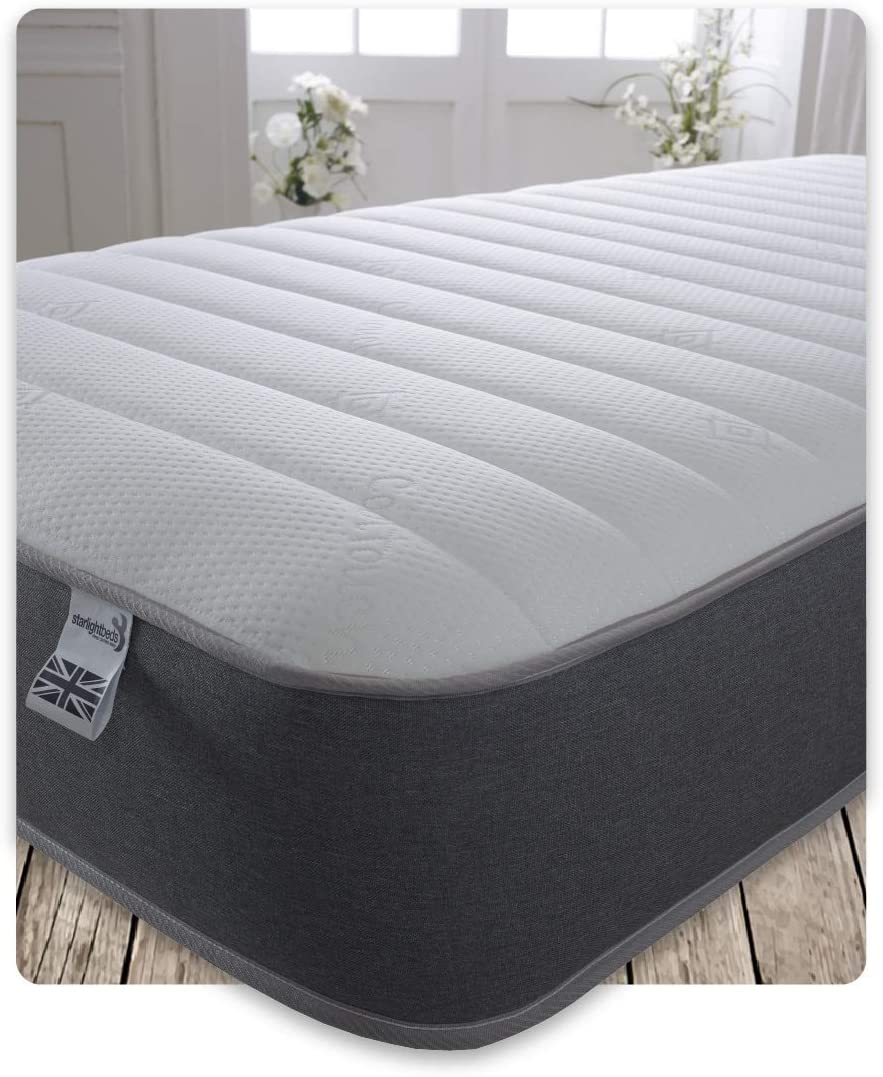 9 Inch Deep Sprung Small Single Memory Foam Mattress with a Luxurious Jersey Knitted Fabric and Grey Border 2ft6 x 6ft3 2ft6 Small Single Mattress Starlight Beds