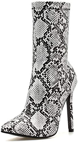 Femmes 11.5 Cm Stiletto Pointu Orteil Mi-Mollet Bottes Martin Bottes Serpent Modèle Sexy Robe Bottes De L'ue Taille 34-42