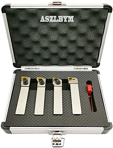 discount ASZLBYM 5/8'' inch CNC outlet online sale Lathe Indexable Turning Tool Holder with Nickel Plated,CNC Heavy-Duty Metal Lathe Bit Set with Tin Coated discount Carbide Turning Inserts WNMG431 CNMG431 TNMG331 16ER AG60 outlet sale