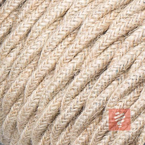 Textilkabel für Lampe, verseilt (geflochten), dreiadrig - 3x0,75mm², Jute - Meterware