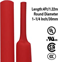 XHF 1-1/4 Inch (30mm) 3:1 Waterproof Heat Shrink Tubing Marine Grade Adhesive Lined Heat Shrink Tube, Insulation Sealing Oil-Proof 4 Ft Red, Other Sizes : (1/2, 5/8, 3/4, 1, 1-1/2, 2) Inch
