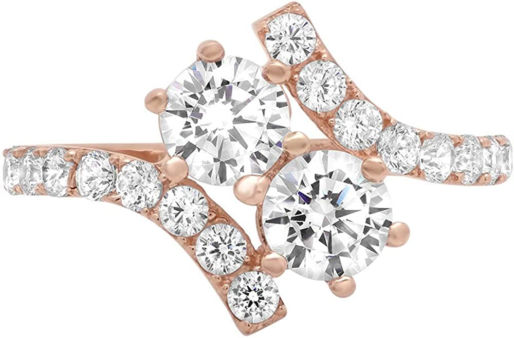 1.78ct Brilliant Round Cut 2-Stone Curved Wedding Engagement Statement Bridal Anniversary Ring 14k Rose Gold