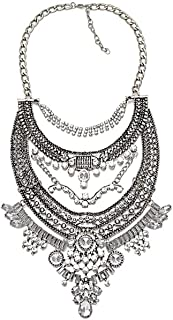 Fashion Chunky Necklace Vintage Ethnic Tribal Statement Choker Necklace Retro Style Turkish Costume Jewelry for Women 1 Pc with Gift Box