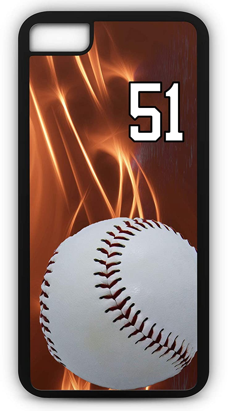 iPhone 7 Case Baseball B029Z Choice of Any Personalized Name or Number Tough Phone Case by TYD Designs in Black Plastic and Black Rubber with Team Jersey Number 51