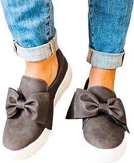Womens Platform Sneakers Flatform Loafer Slip on Bow Tie Knot Comfort Flats Shoes