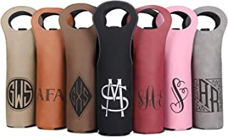 Personalized Wine Bag - Custom Engraved Faux Leather Wine Bottle Carrier - Personalized Wine Gift (7 Designs, 7 Colors)