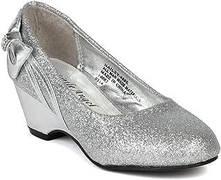 Glitter Round Toe Bow Kiddie Heel Wedge Sandal (Toddler/Little Girl/Big Girl) BA60 - Silver
