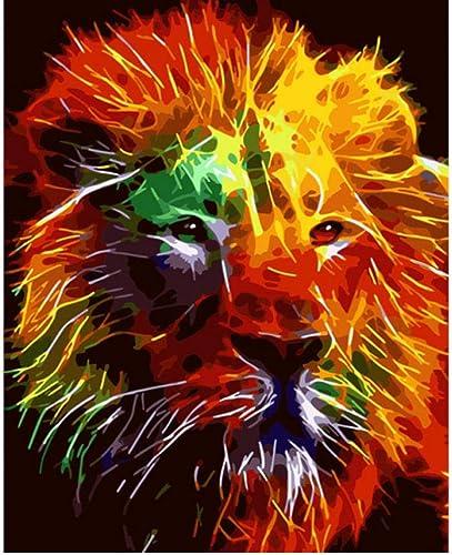 Waofe Un Lion Sérieux De Couleur Animal Diy Numérique Peinture Par Numéros Moderne Mur Art Toile Peinture Unique Cadeau Home Decor- With Frame