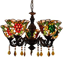Chandelier American Tiffany Stained Glass Lighting Living Room Dining Room Bedroom Bar Crystal Grape 5 Head Hanging Lights,5h