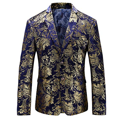 Man's Slim Fit Luxury Casual Notched Lapel Floral Party Prom Blazer Jacket US Size 40 (Label Size 4XL) BlueGold
