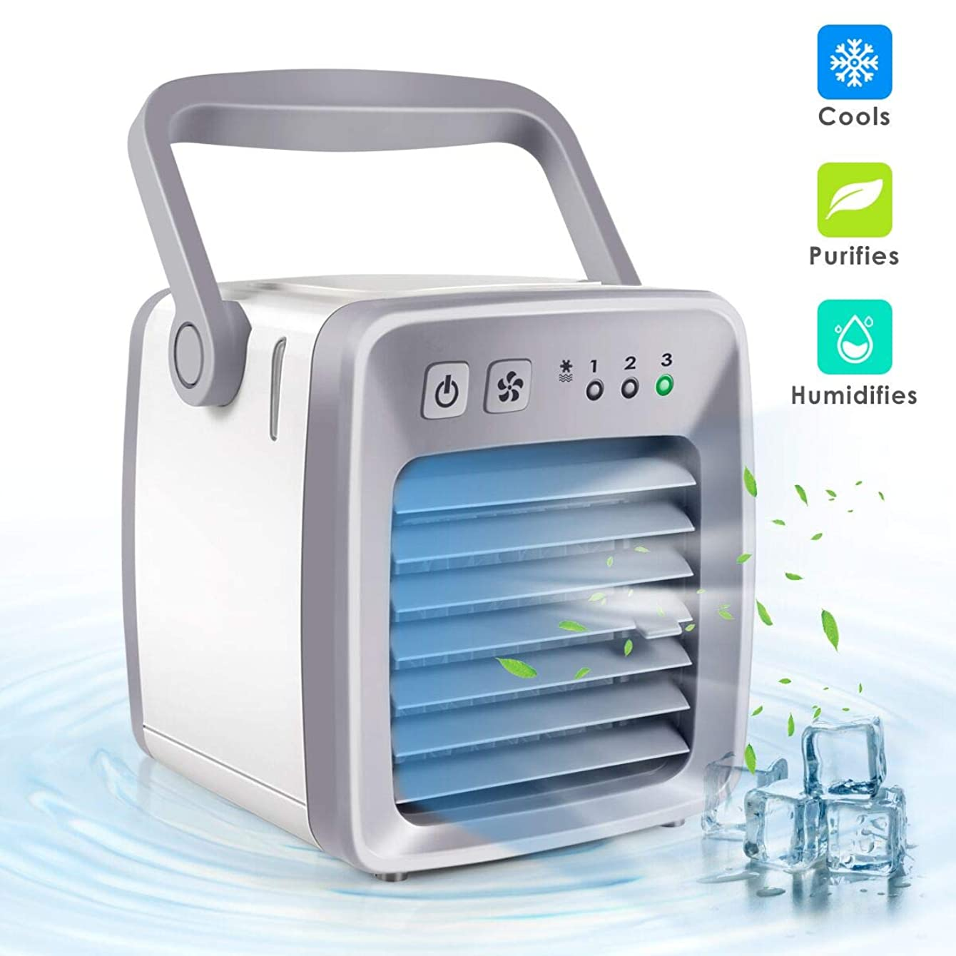 Air Cooler, Mini Portable Air Conditioner Fan Noiseless Evaporative Air Humidifier, Personal Space Air Conditioner, Mini Cooler,3 Gear Speed, Office Cooler Humidifier & Purifier