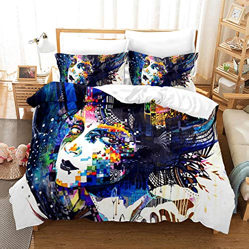 aakkjjzz Duvet Cover King Size Set Ultra Soft 3 Pcs Bedding Set With Zipper Closure 100% Polyester Quilt Duvet Cover and 2 Pieces Pillowcases Color Woman for Bedroom Daybed 230X272cm