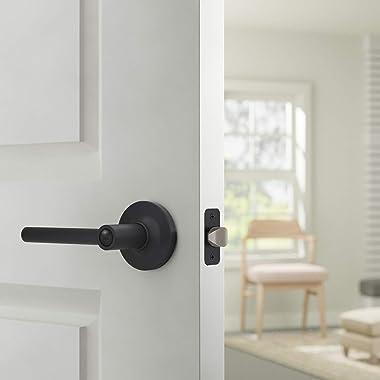 Amazon Basics Contemporary Madison Door Lever with Lock, Privacy, Matte Black