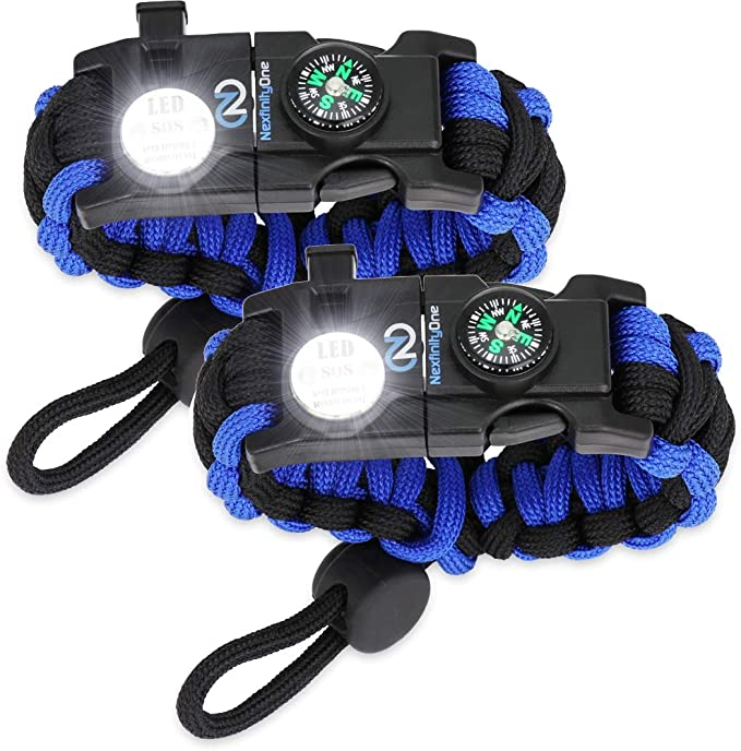 Survival Paracord Bracelet - Tactical Emergency Gear Kit with SOS LED Light, Knife, 550 Grade, Adjustable, Multitools, Fire Starter, Compass, and Whistle - Set of 2 (Blue)