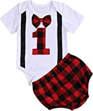 Baby Boy First Birthday Outfit Lumberjack Toddler Bow Tie Short Sleeve Romper+Buffalo Plaid Diaper Cover Cake Smash Clothes