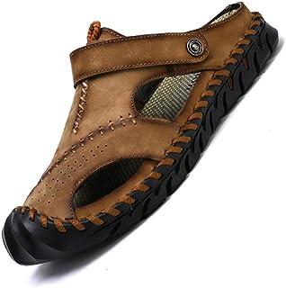 Men's Sandals Summer Dual Purpose Shoes Outdoor Sandals Summer Breathable Beach Shoes (Color : Khaki, Size : 46)